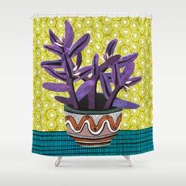 Purple Heart Collage by Veronique de Jong Shower Curtain
