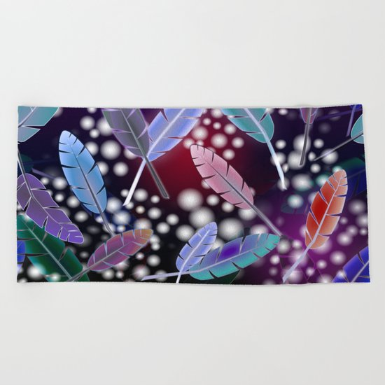 Feathers and Fairy Lights (The Witching Hour) Beach Towel