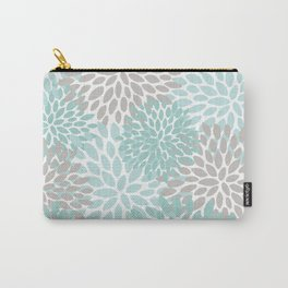 Floral Pattern, Teal, Aqua, Turquoise,Gray Carry-All Pouch