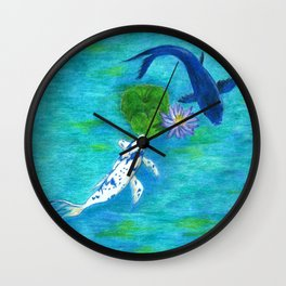 Blue Koi Wall Clock