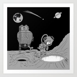 vintage voyage to the moon Art Print