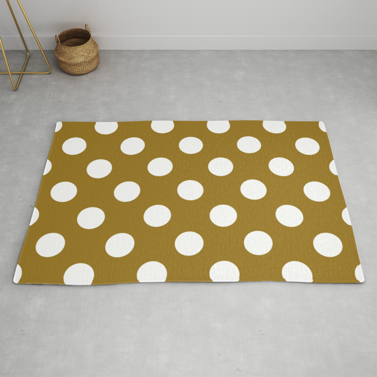 Drab Brown White Polka Dots Pois Pattern Rug By Makeitcolorful Society6