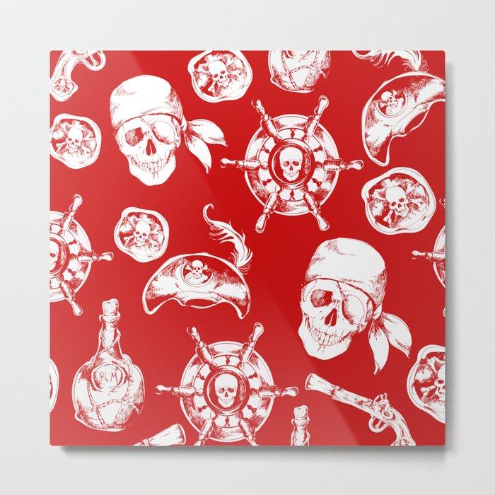 Red Pirate Pattern Metal Print