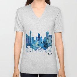 Calgary Canada Skyline Blue Unisex V-Neck