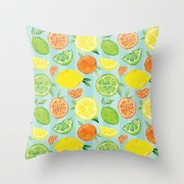 Zesty Citrus Pattern Throw Pillow
