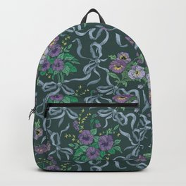 Violet with sweet peas flowers on dark background Backpack