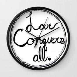 Love Conquers All B&W Zentangle Drawing Print Wall Clock