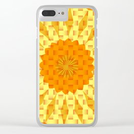 ORANGE AND YELLOW BLOCK AND WEAVE PATTERN Clear iPhone Case