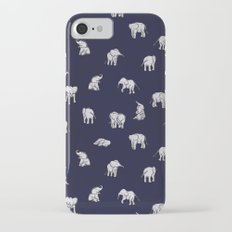 Indian Baby Elephants in Navy iPhone 7 Slim Case