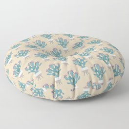 Prickly pear cactus in a basket planter Floor Pillow
