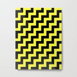 Black and Electric Yellow Steps RTL Metal Print