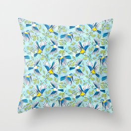 Flying Birds and Oak Leaves Throw Pillow