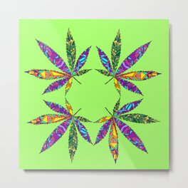 Patchwork Pot Leaves Metal Print