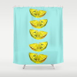 Lemon Slices Turquoise Shower Curtain