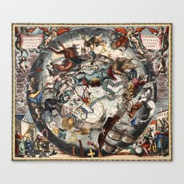 Keller's Harmonia Macrocosmica - Scenography of the Southern Celestial Hemisphere 1661 Canvas Print
