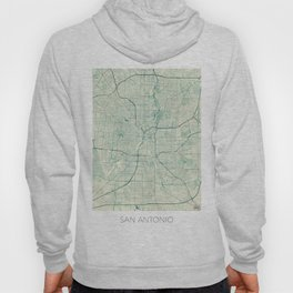 San Antonio Map Blue Vintage Hoody