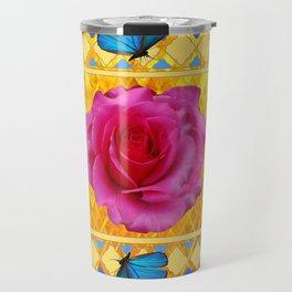 CERULEAN BLUE BUTTERFLIES SPRING PINK ROSES Travel Mug