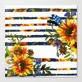 Yellow orange watercolor hand painted modern sunflowers stripes Canvas Print