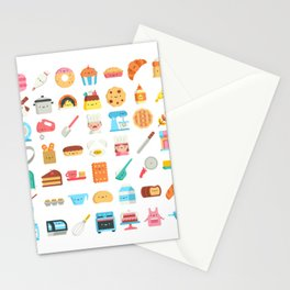 CUTE BAKERY PATTERN (CUTE CHEF BAKER) Stationery Cards