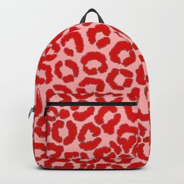 Bold Modern Red Pink Leopard Animal Print Backpack
