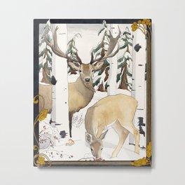 Deer in the Winter Forest Metal Print