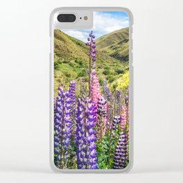 Colorful fields of lupines blooming in December in NZ Clear iPhone Case