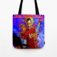 bazinga Tote Bags featuring Bazinga Sheldon! by JT Digital Art