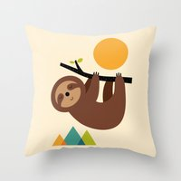 cartoons Throw Pillows featuring Keep Calm And Live Slow by Andy Westface