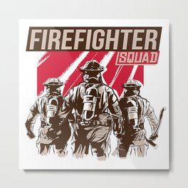 Firefighter Squad Metal Print