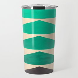 Colorful Turquoise Green Geometric Pattern with Black Accent Travel Mug