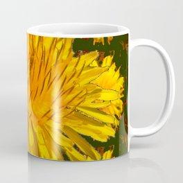YELLOW DANDELIONS  & DARK MOSS GREEN ART DESIGN Coffee Mug