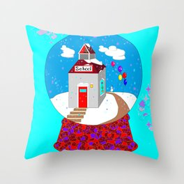 A Winter Wonderland Snow Globe School House Throw Pillow