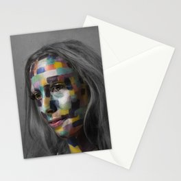 Girl of pixels Stationery Cards