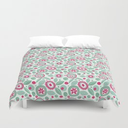 Abstract Flower Pattern Hot Pink Mint Green Floral Circles Duvet Cover