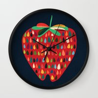 strawberry Wall Clocks featuring Strawberry by Picomodi