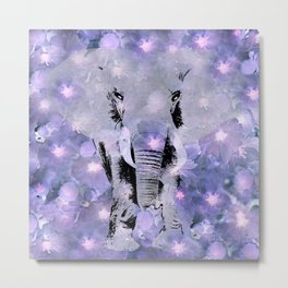 ELEPHANT AND LILAC PURPLE VIOLET BLOSSOMS Metal Print