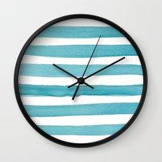 Watercolor Juicy Strokes: Teal Wall Clock