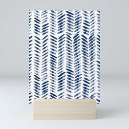 Minimalistic Watercolor Pattern In Dark Blue Mini Art Print