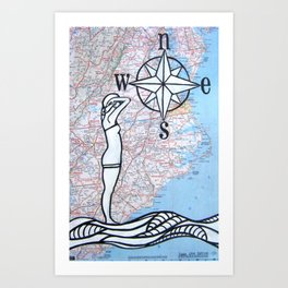 Compass Rose - Bather Art Print