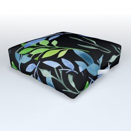 Blue and Green Leaves Outdoor Floor Cushion