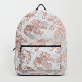 Boho rose gold floral paisley mandala elephants illustration white marble pattern Backpack
