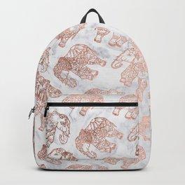 Boho rose gold floral paisley mandala elephants illustration white marble pattern Backpack