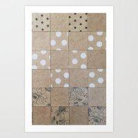 Paper Bag Quilt Pattern Art Print