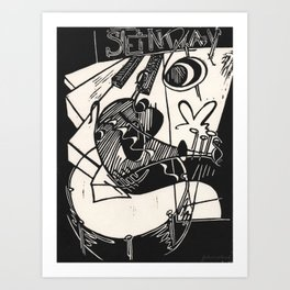Herbie's Tune, Abstract Jazz Instruments Black and White Block Print Art Print
