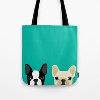french Tote Bags featuring Boston Terrier & French Bulldog 2 by Anne Was Here