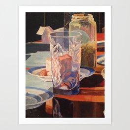 drinking glass detail, acrylic painting Art Print