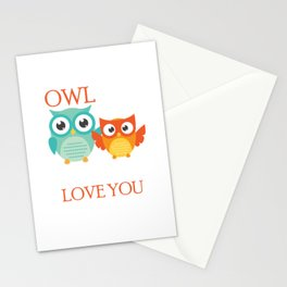 Cute Owl Always Love You Romantic Stationery Cards