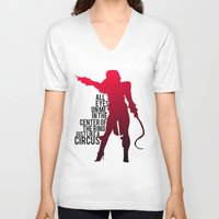 britney V-neck T-shirts featuring Britney Circus by Tadeu Marques