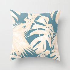 Palm Leaves Citrus on Deep Ocean Blue Throw Pillow