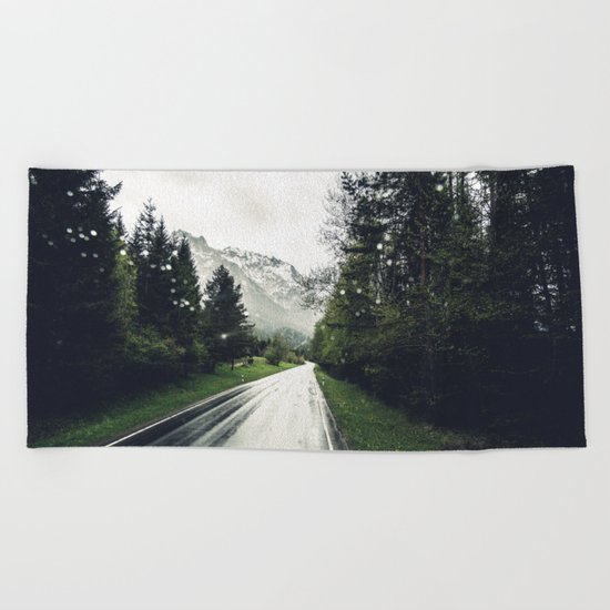 Down the Road - Mountains, Forest, Austria Beach Towel